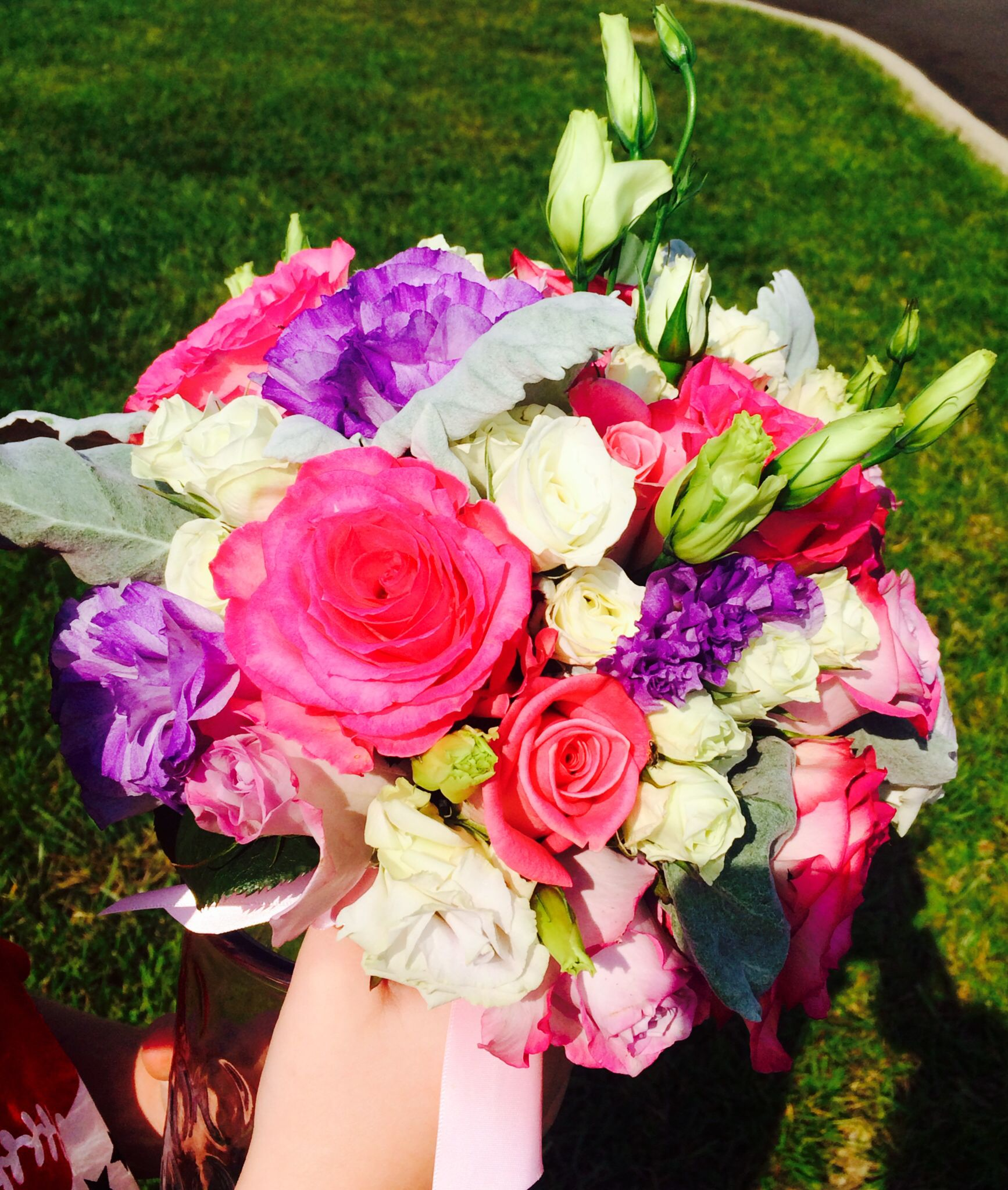 Wedding Flowers Website: Bridal Bouquet: Pink Roses, Dusty Miller, Etc #wedding