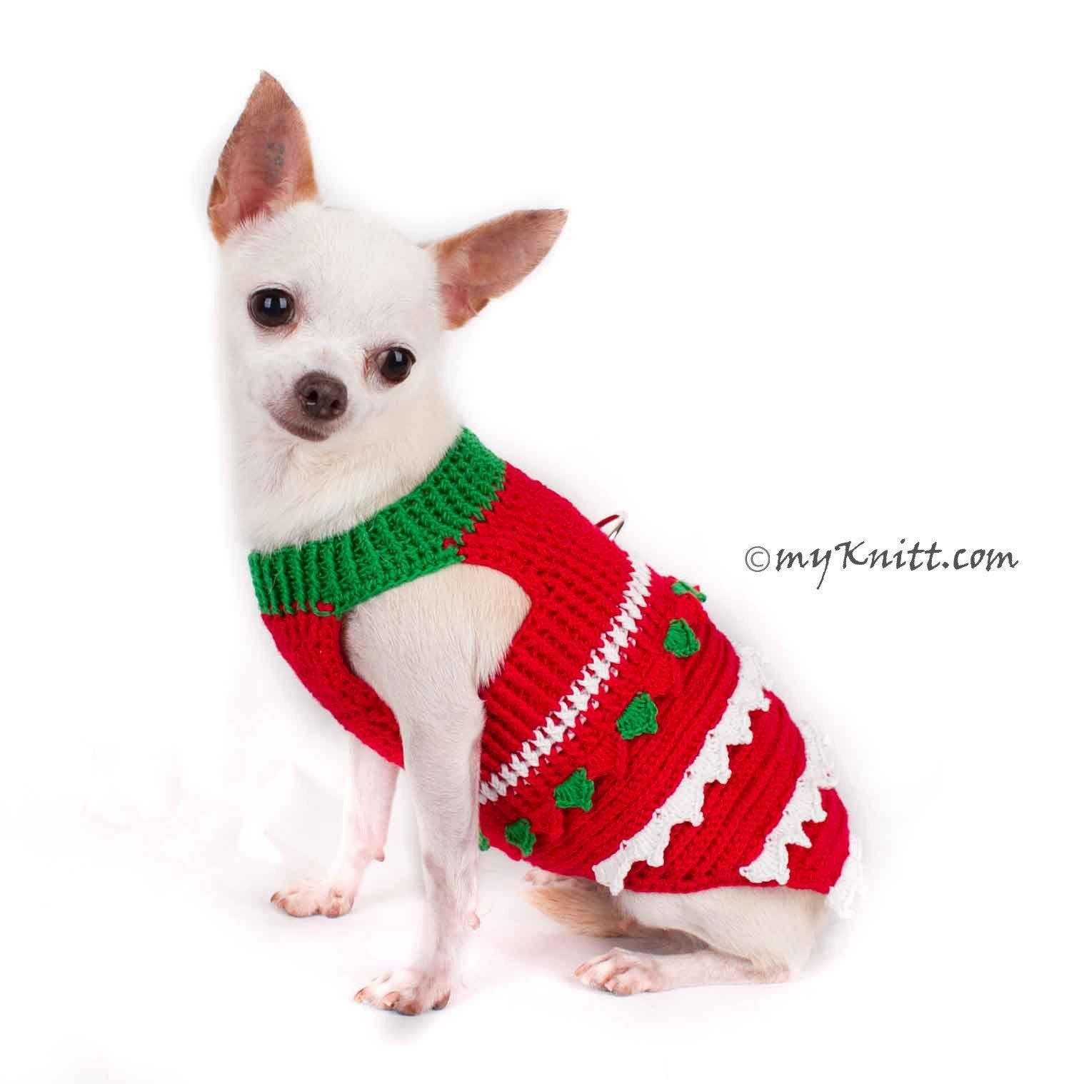Christmas Tree Chihuahua Clothes Crochet Dog Sweater DF1 | Myknitt ...