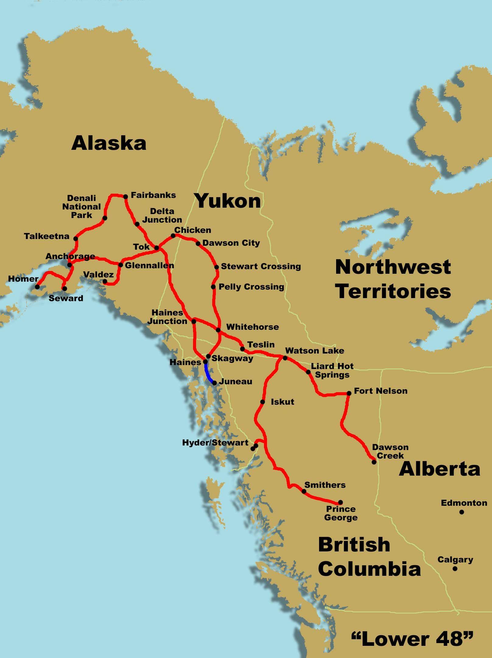 ALASKA  DAY Route Map ALASKA Pinterest View Map Alaska - Alaska america map
