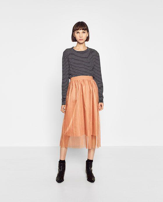 e587f5d33c6 Εικόνα 3 του ΠΛΙΣΕ ΦΟΥΣΤΑ ΑΠΟ ΤΟΥΛΙ από Zara | fall 2016 | Skirts ...
