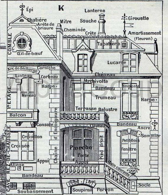 Close up of a antique print of houses, architecture, maison $12