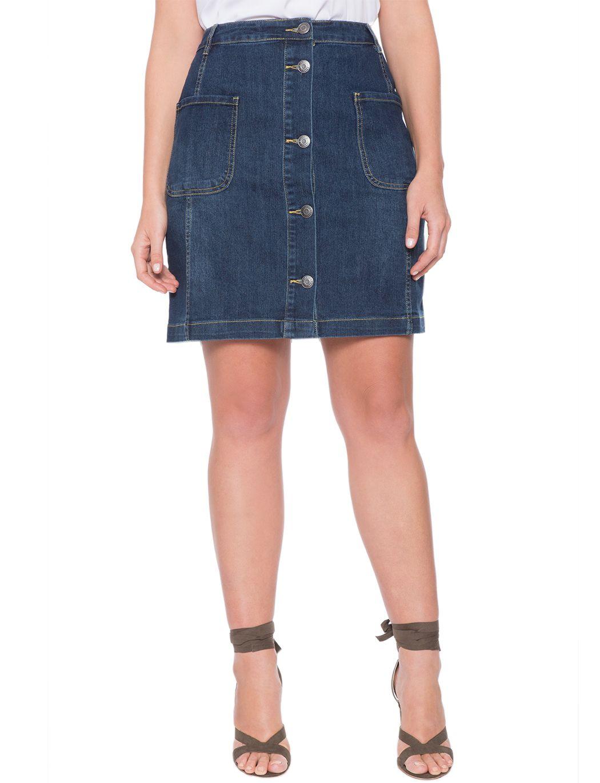 Button Front Denim Skirt Dark Wash Denim