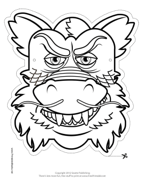 chinese dragon mask to color printable mask free to download and print