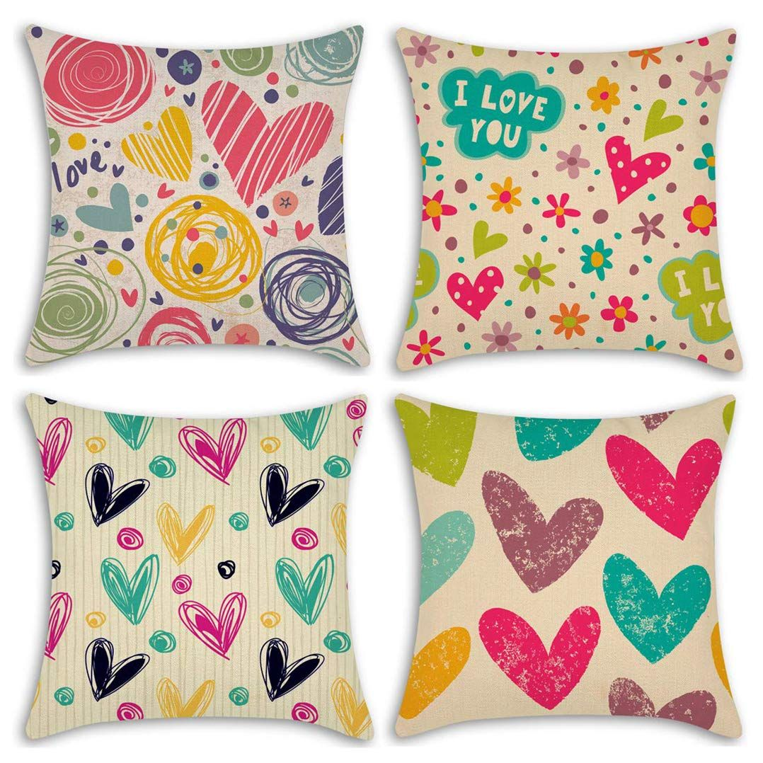 Sweet Heart TUPARKA 4 Pcs Throw Pillow Covers Linen Pillow Case Cover 18 x 18 Inch Valentines Day Home Decoration