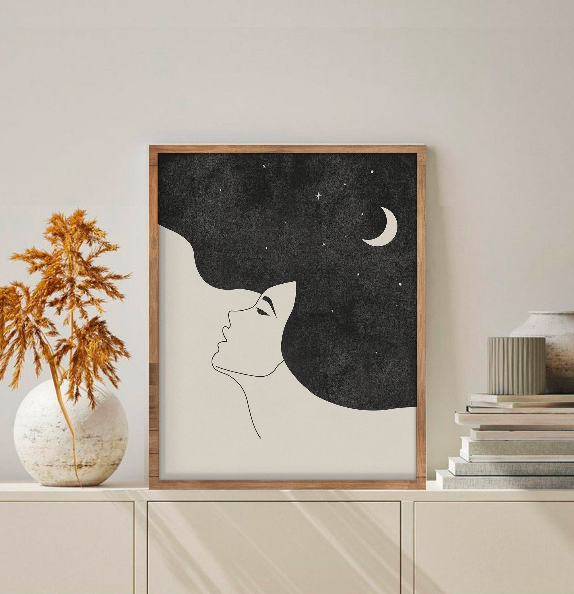 Moon Printable Wall Art Digital Print Girl Neutral Wall Art Etsy Diy Canvas Art Painting Etsy Wall Art Diy Canvas Art