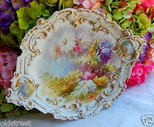 Antiguas magníficas Limoges porcelana pintado a mano de la placa del cargador de la placa de oro 1891c.
