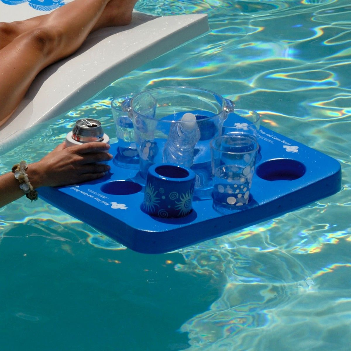 Kool Floating Beverage Tray With Checkers Game Pool Toys Pool