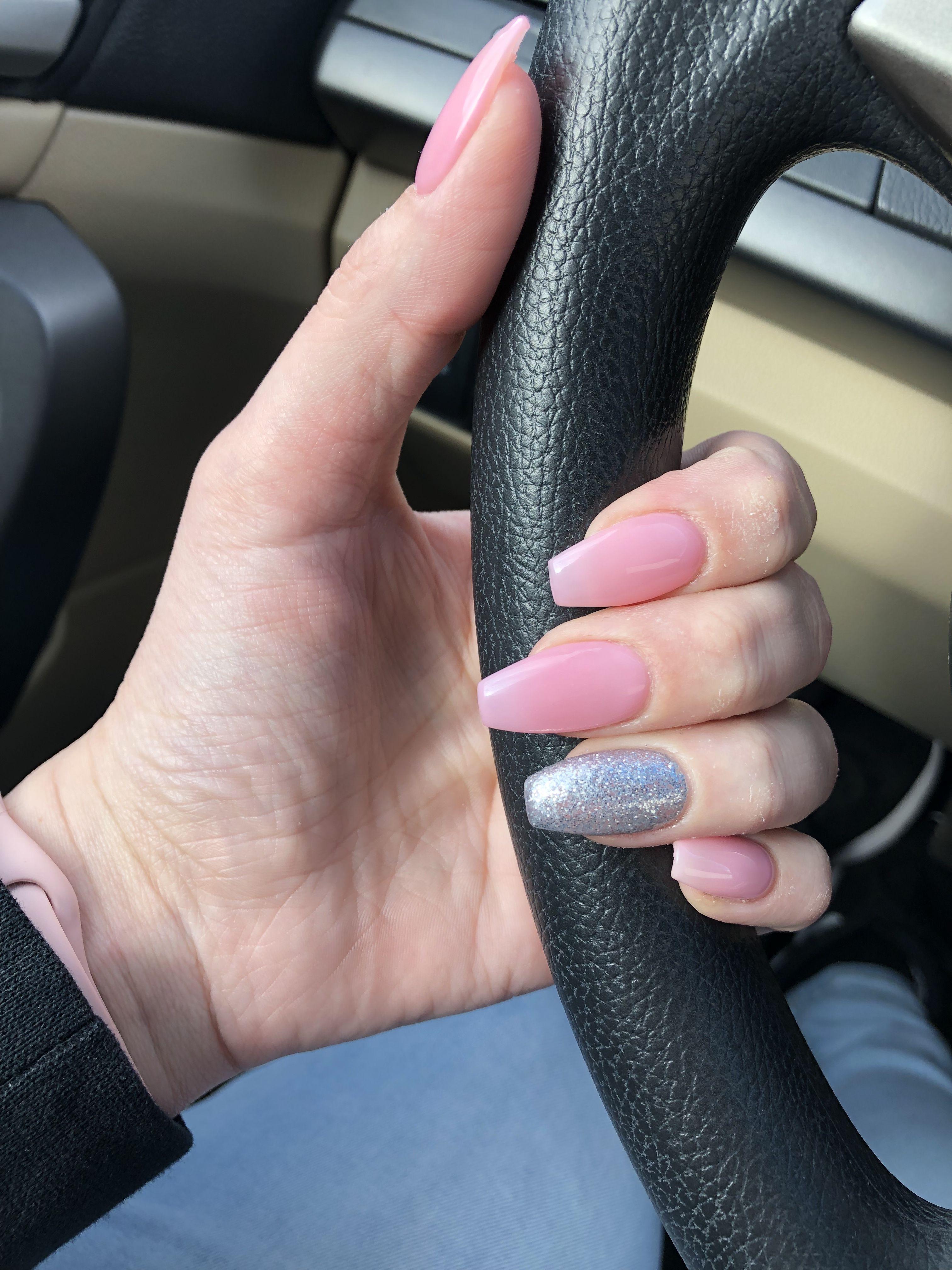 Dnd Sheer Pink Nails Coffinnails In 2019 Luminous Nails Pink Nails Gel Nails