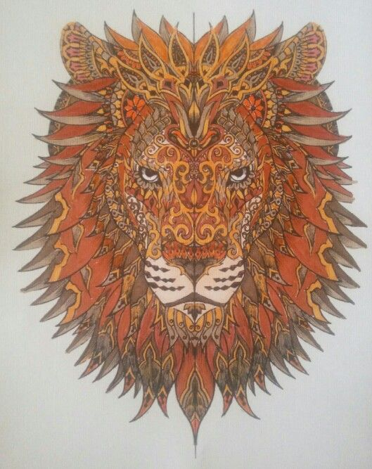 Layered Lion Coloring Page Finished Coloring Pages Aka