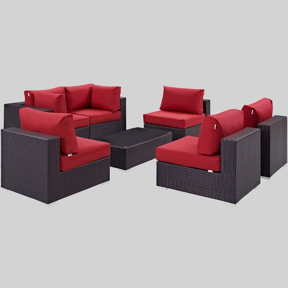 Convene 7pc Outdoor Patio Sectional Set Red Modway Patio Furniture Sets Turquoise Cushions Outdoor Sectional