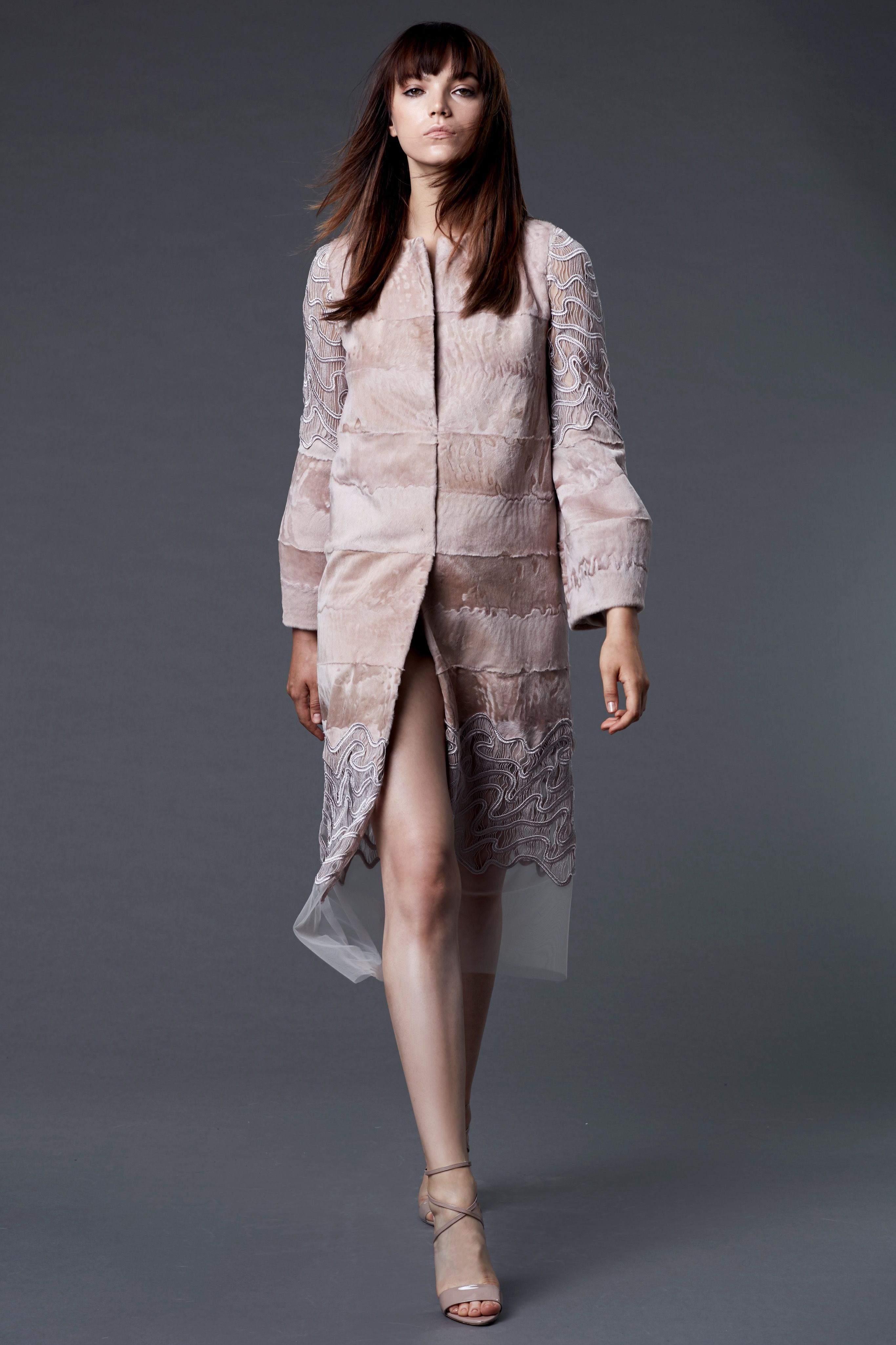 Dennis basso resort ash rose broadtail and lace coat fashion
