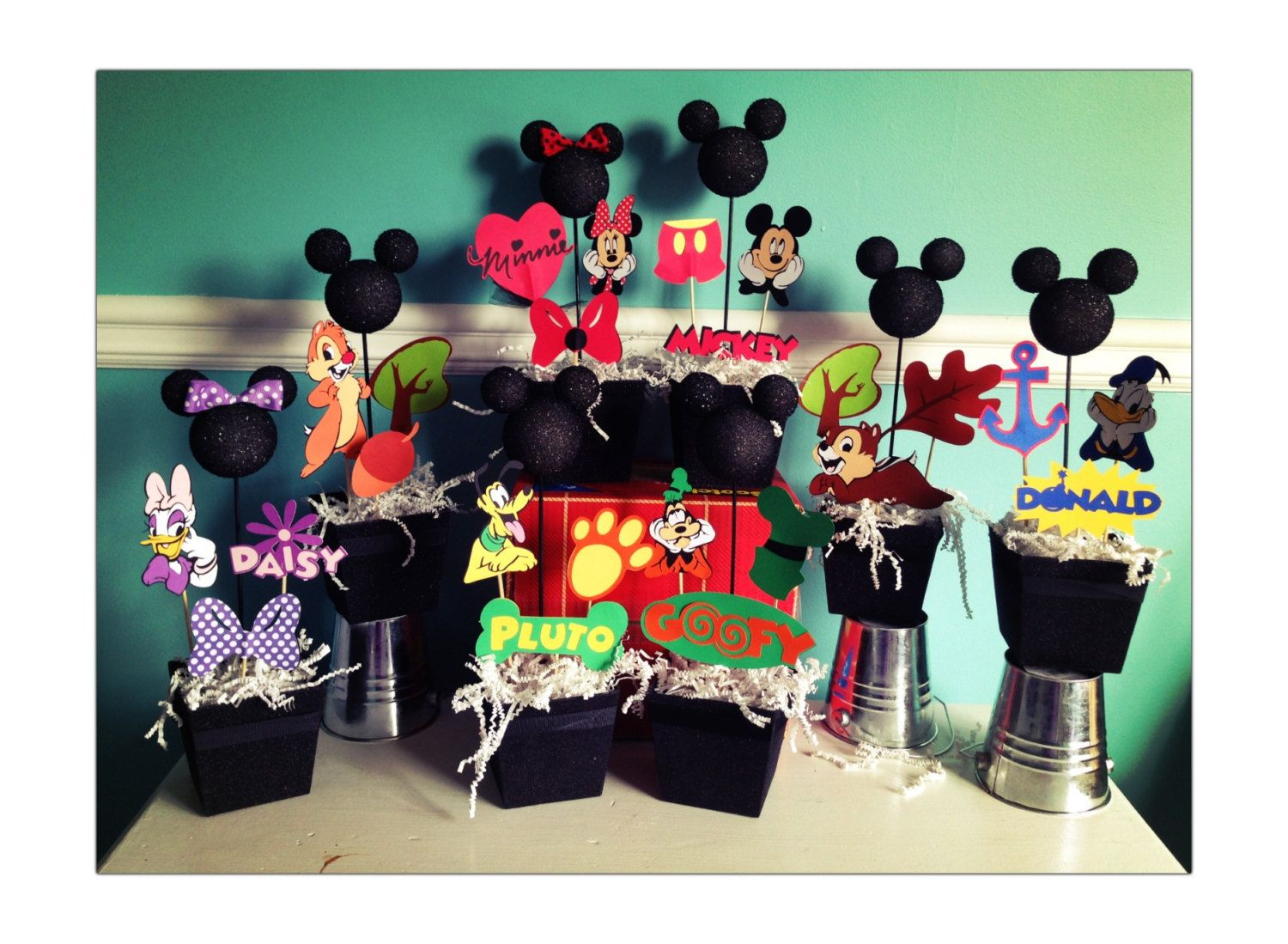 Mickey Mouse Clubhouse 1st Birthday | Mickey Mouse clubhouse centerpieces set of by RaeofSunshinedesign