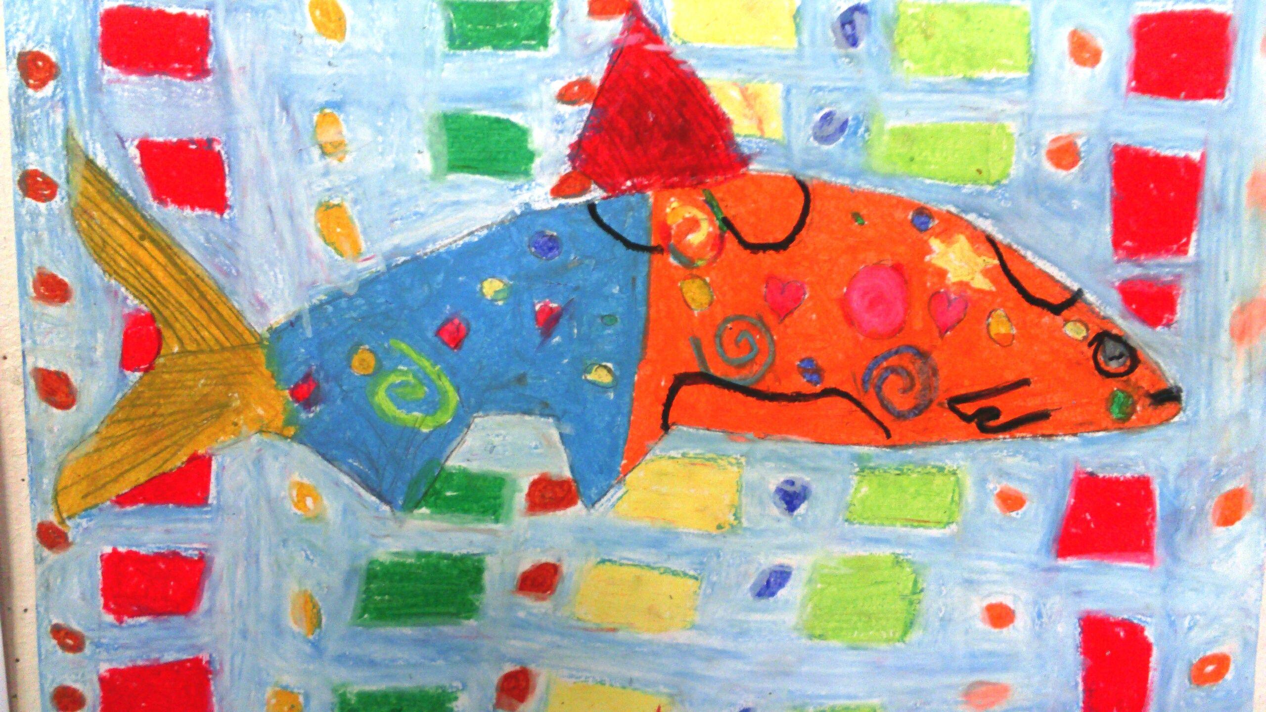 Fantasierijke vis, uitvoering met waskrijt.