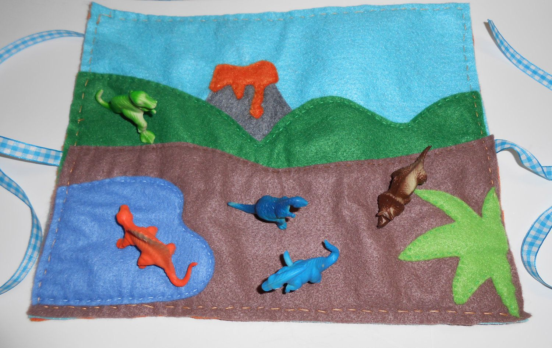 Felt Dinosaur Play Mat Quiet Travel Toy 20 00 Via Etsy