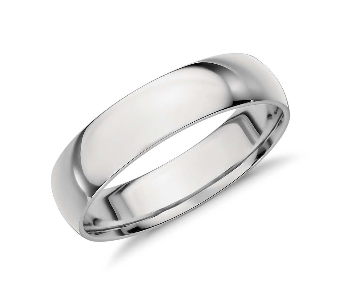 Trendy Mid weight Comfort Fit Wedding Band in Platinum mm