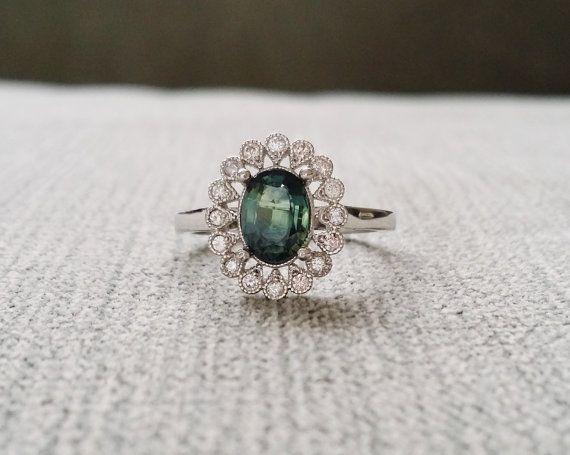 "Halo Blue Green Sapphire Diamond Ballerina Oval Antique Engagement Ring Gemstone Flower Filigree 14K White Gold Vintage ""The Sophia"""