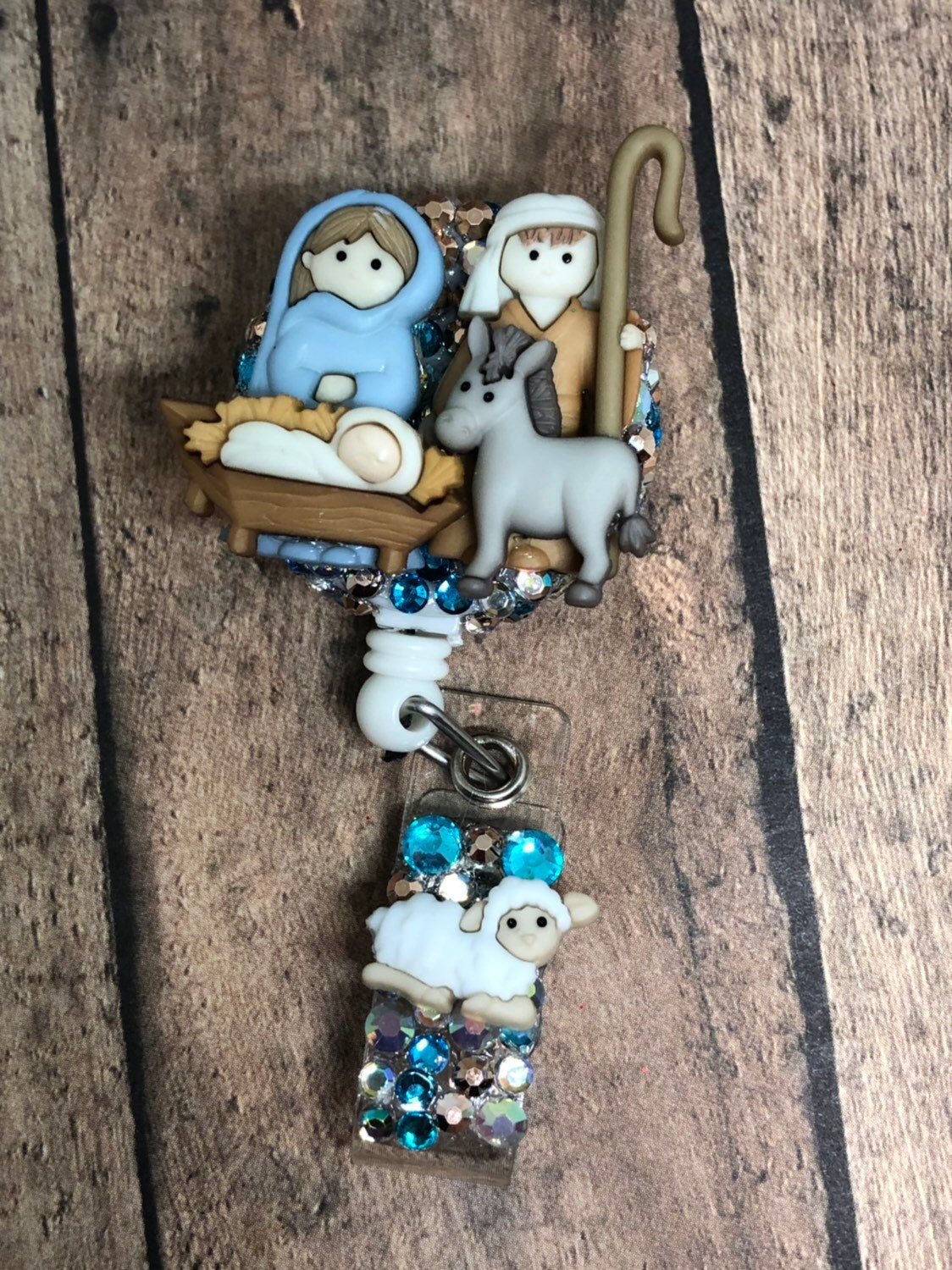 Mary and Joseph with Donkey ID Badge Reel - Retractable ID