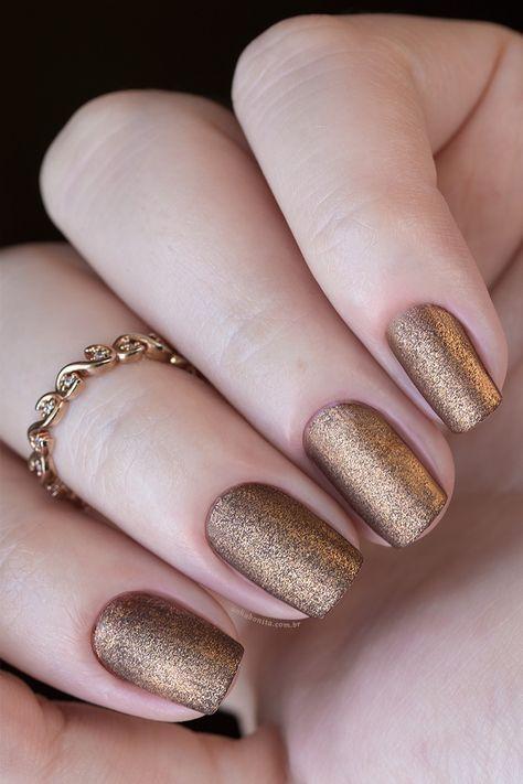 Combinando Esmaltes Cobre Fosco Unhas Bonitas Unhas Douradas