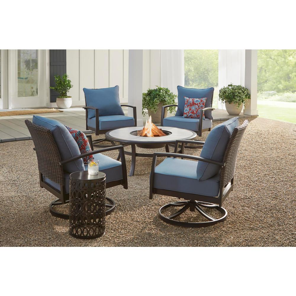 Hampton Bay Whitfield 5 Piece Dark Brown Metal Outdoor Patio Round Fire Pit Seating Set W Cushionguard Steel Blue Cushions 3022 Cm4 The Home Depot Best Furniture