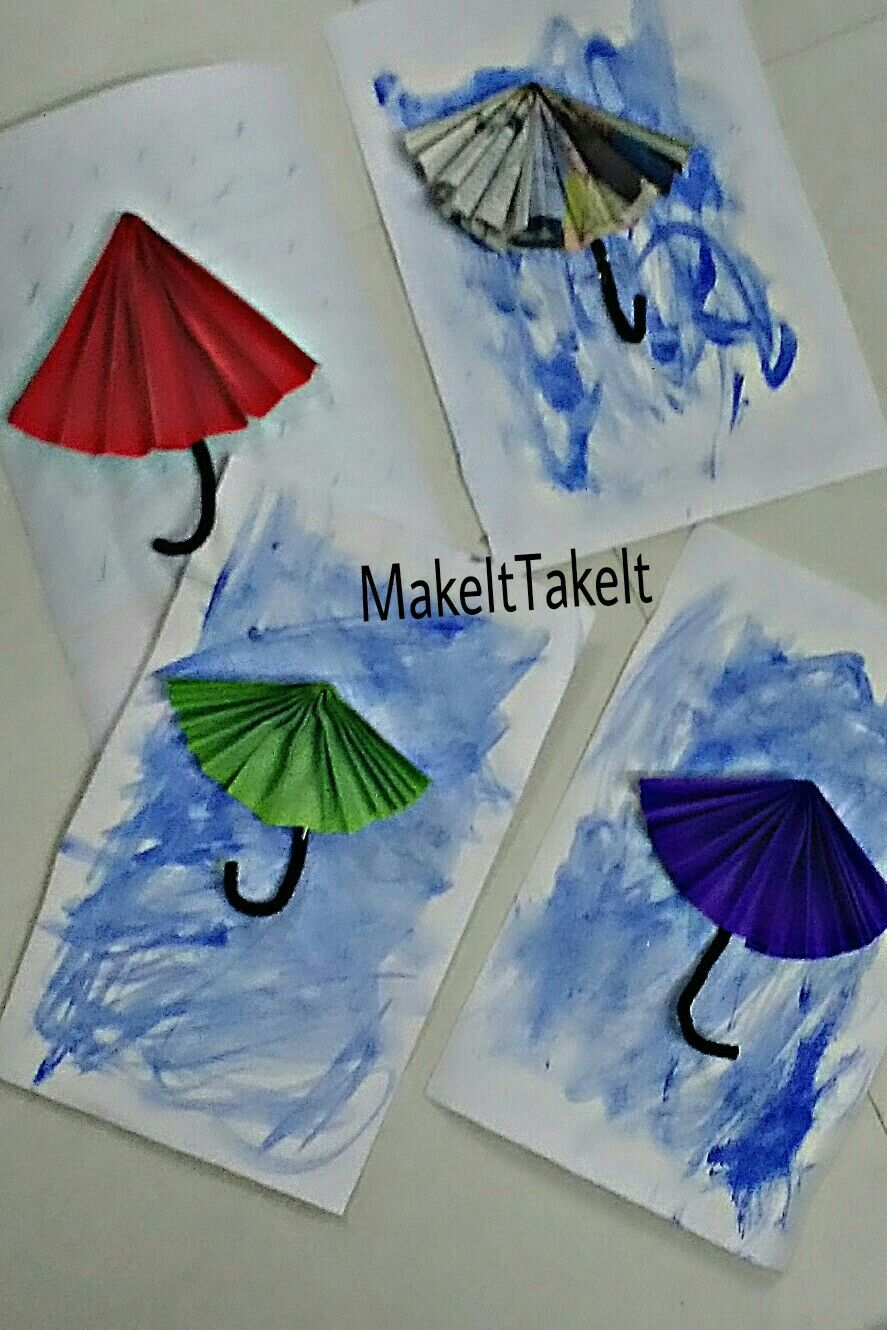 Rainy Day Craft For Kids Accordion Fold Umbrella Makeittakeit