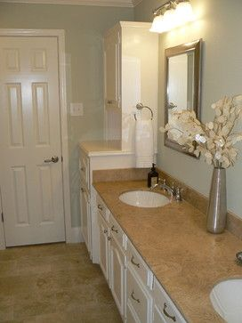 Master Bathroom Tan Counter White Cabinets Sea Blue Paint