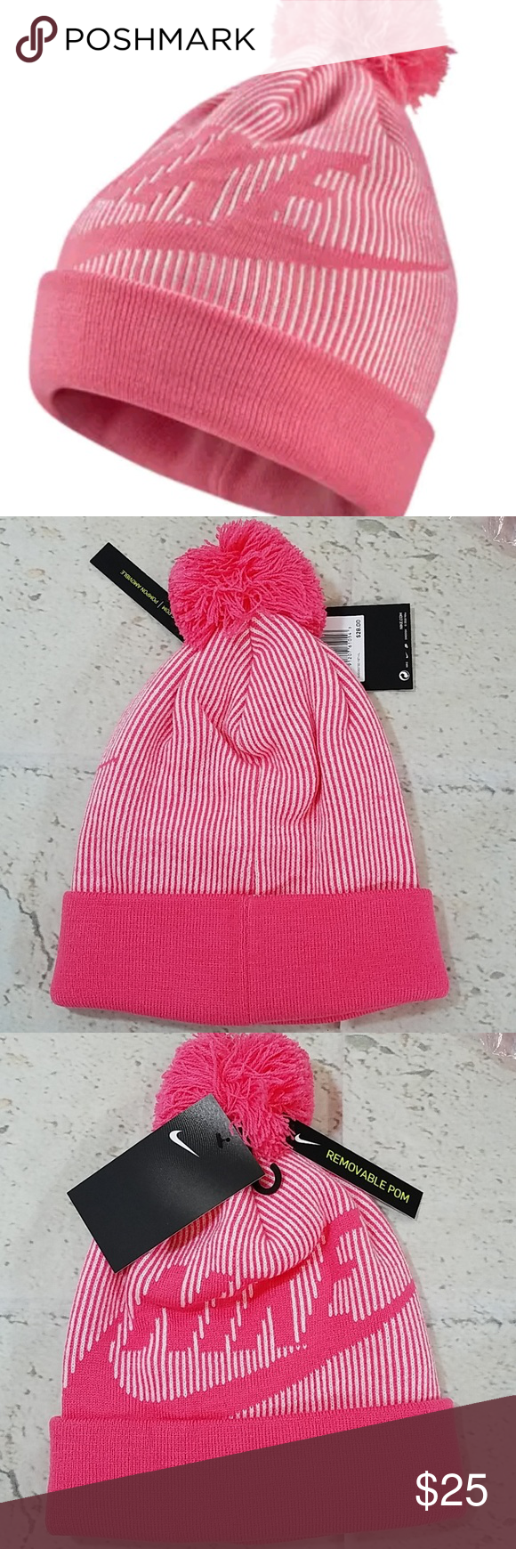 8c57dbd10c23a7 Nike Beanie Toboggan Hat Pink NWT Women's Nike Beanie Removable Pom Nwt Nike  Accessories Hats