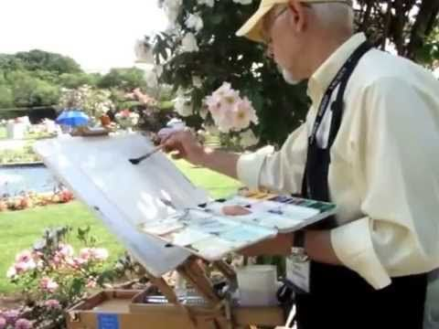 Plein Air Watercolor Painting At The Kelleher Rose Garden Party
