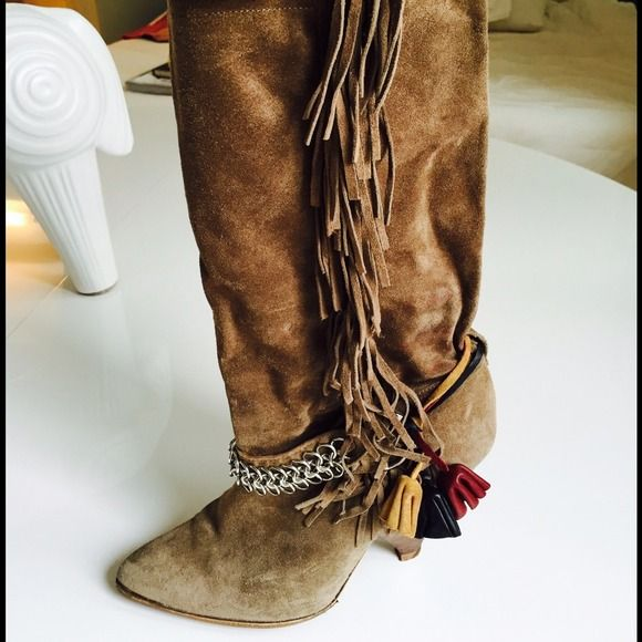 b4861988b1 Isabel Marant fringe suede boots Camel suede with metal chain and ...