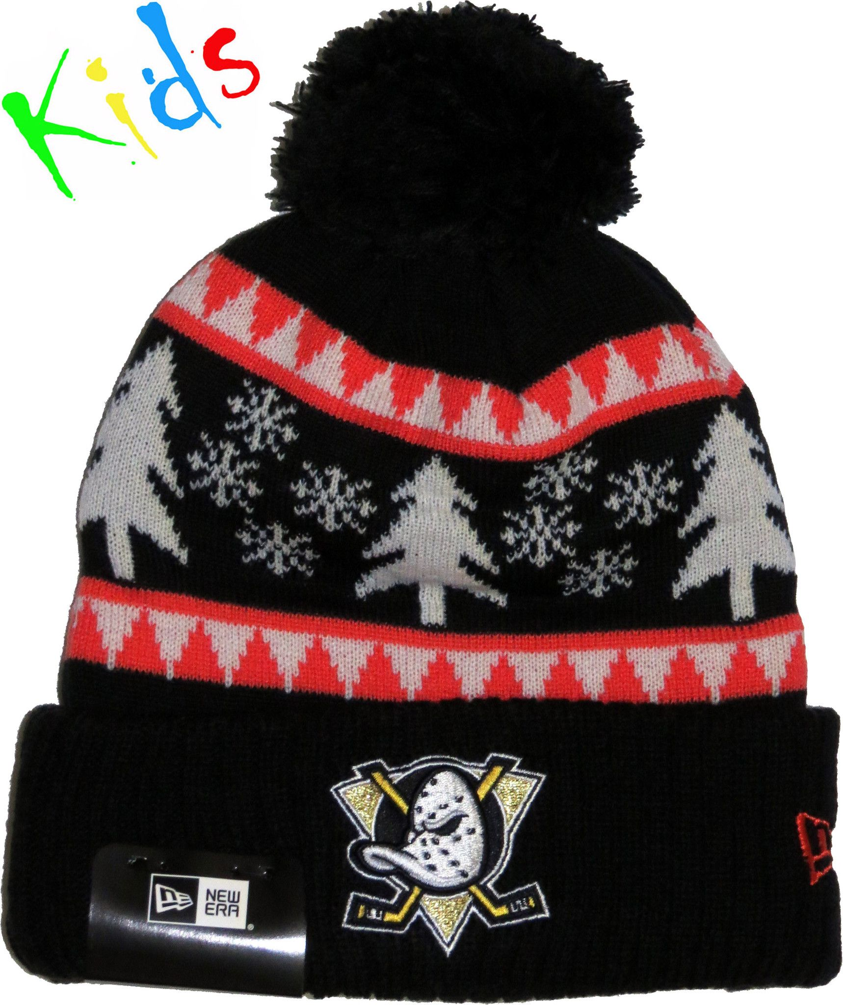 Anaheim Mighty Ducks New Era Kids Snow Pine Bobble Hat  a4159d7e129