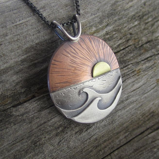 Red Sky at Morning Mixed Metal Pendant - 2nd Edition