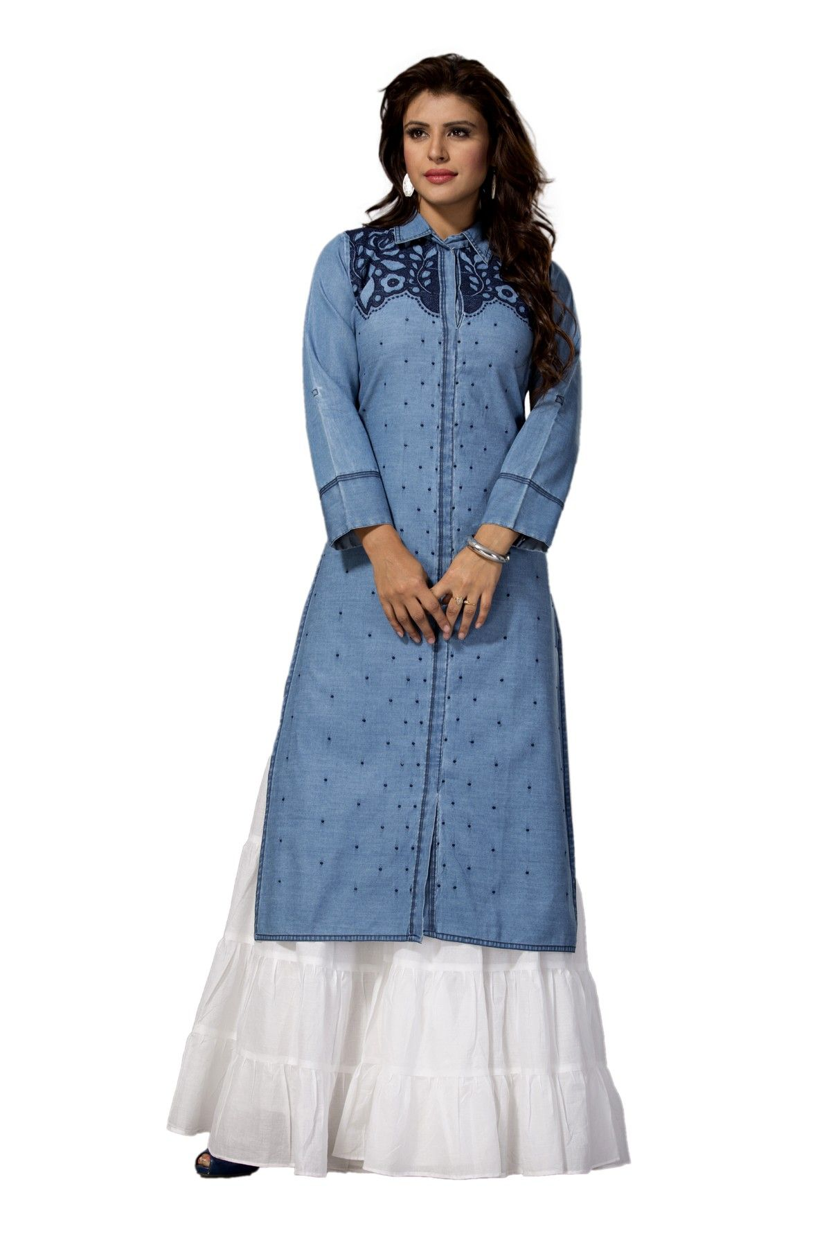 f10618c1fd5 Blue long sleeve denim kurti