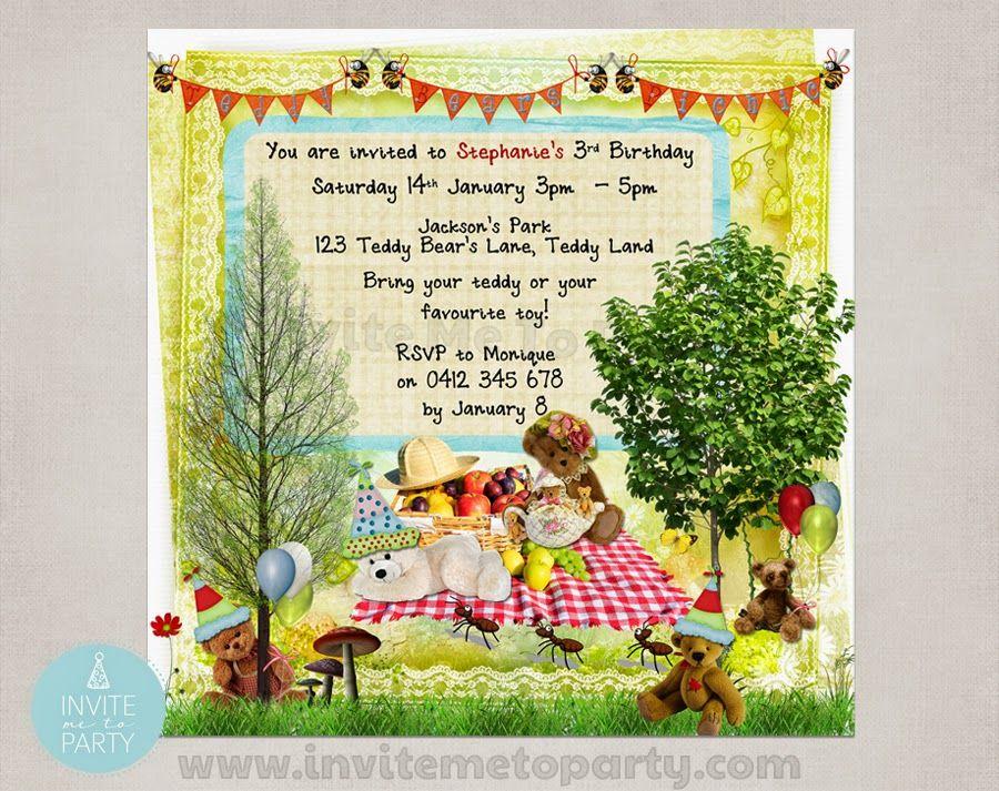 Teddy Bear\'s Picnic Party Invitation Invite Me To Party: Teddy ...