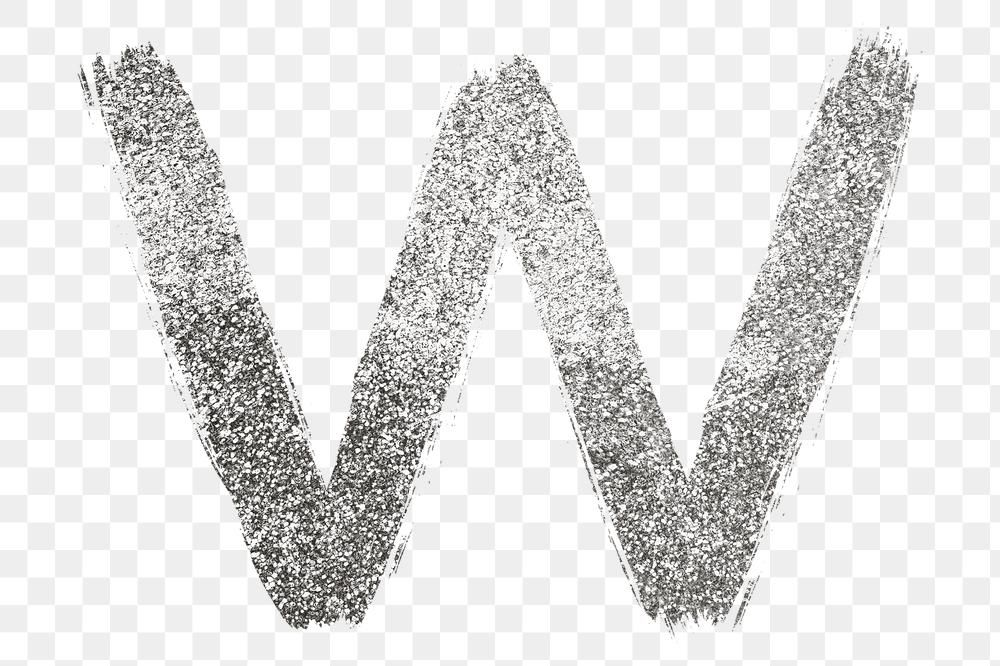 Letter W Png Silver Glitter Brushed Typography Free Image By Rawpixel Com Hein Lettering Typography Glitter Letters