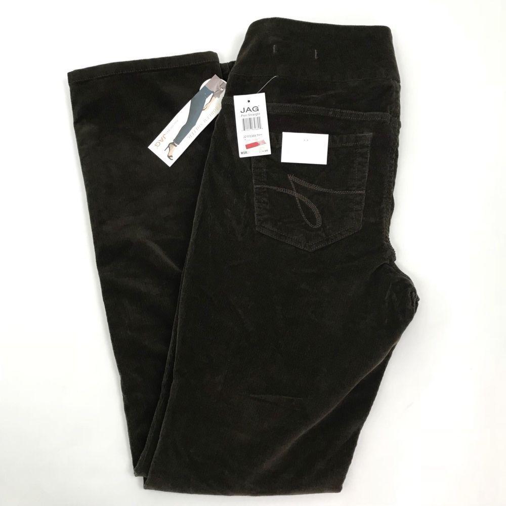 4cf4a6a0188e JAG Jeans Womens Corduroy Peri Straight Leg High Rise Pull On Pants Brown  Sz 10