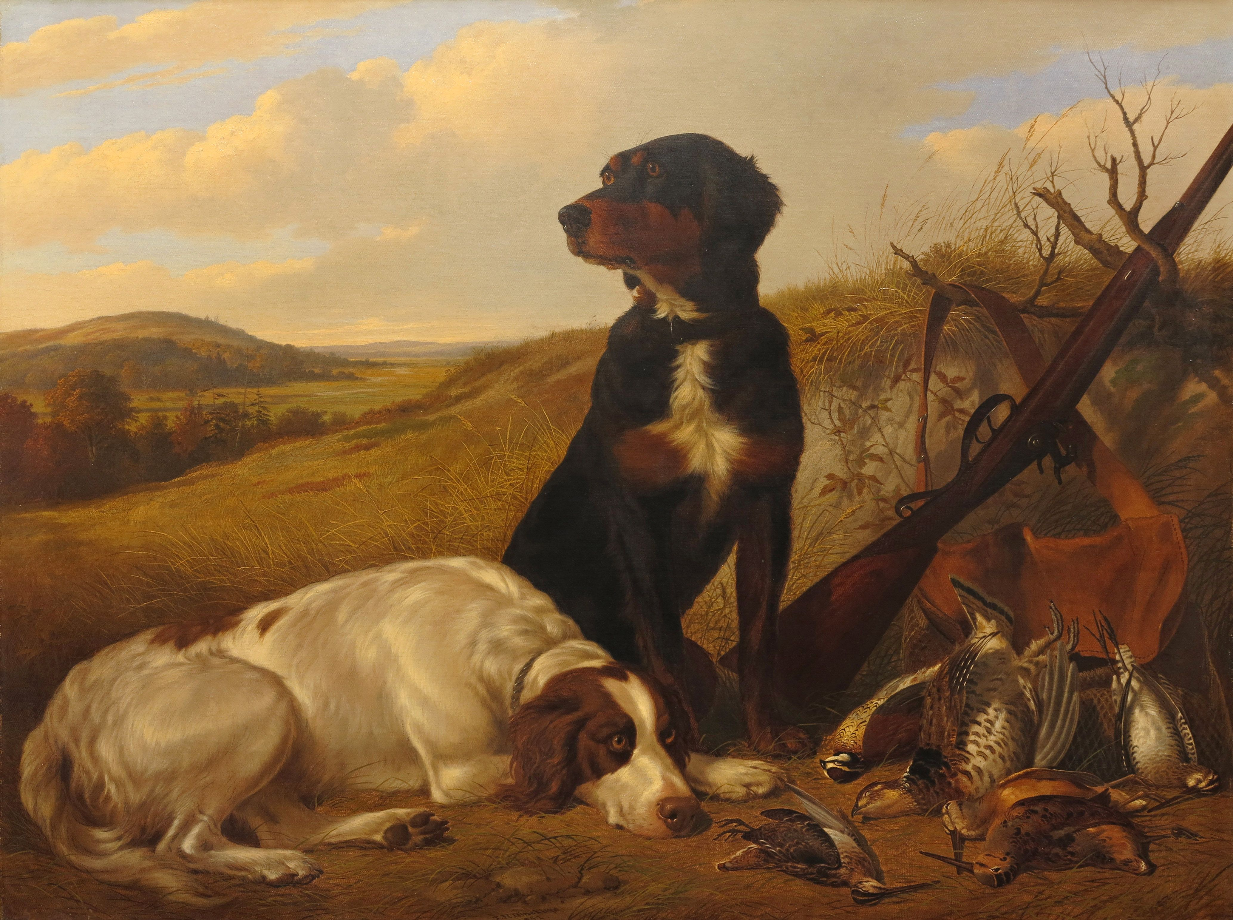 Thomas Hewes Hinckley (American, 1813-1896), Gun Dogs with Game, 1852, oil on canvas, signed T. H. Hinckley/1852, 36 x 48 inches. Presented by Red Fox Fine Art at #IntlShow 2015