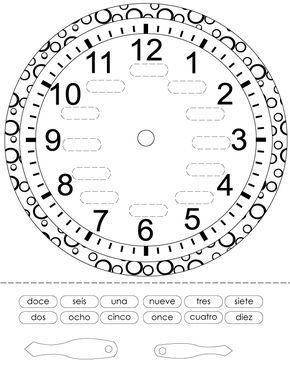 Reloj Para Imprimir Colorear Y Armar Planeaciones Gratis Recursos Didacticos Franceses Reloj De Agujas Aprender La Hora
