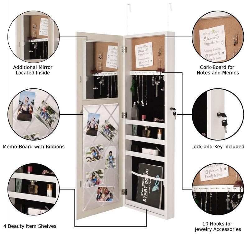 Latitude Run   Rieves Over The Door Makeup Storage Jewellery Armoire With  Mirror   Donu0027
