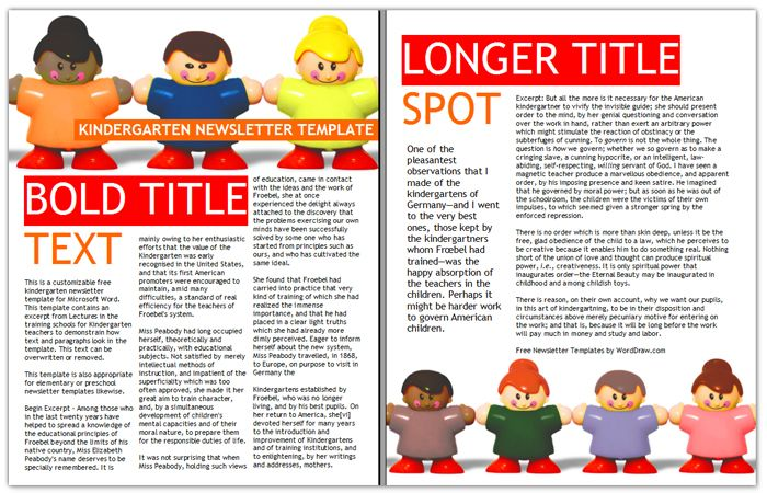 Kindergarten Newsletter Template  Goo    Newsletter