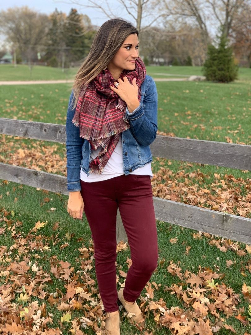How To Wear A Jean Jacket With Burgundy Pants This Fall Justpostedblog Shopstyle Shopthelook My Burgundy Pants Outfit Family Photo Outfits Red Jeans Outfit [ 1080 x 810 Pixel ]