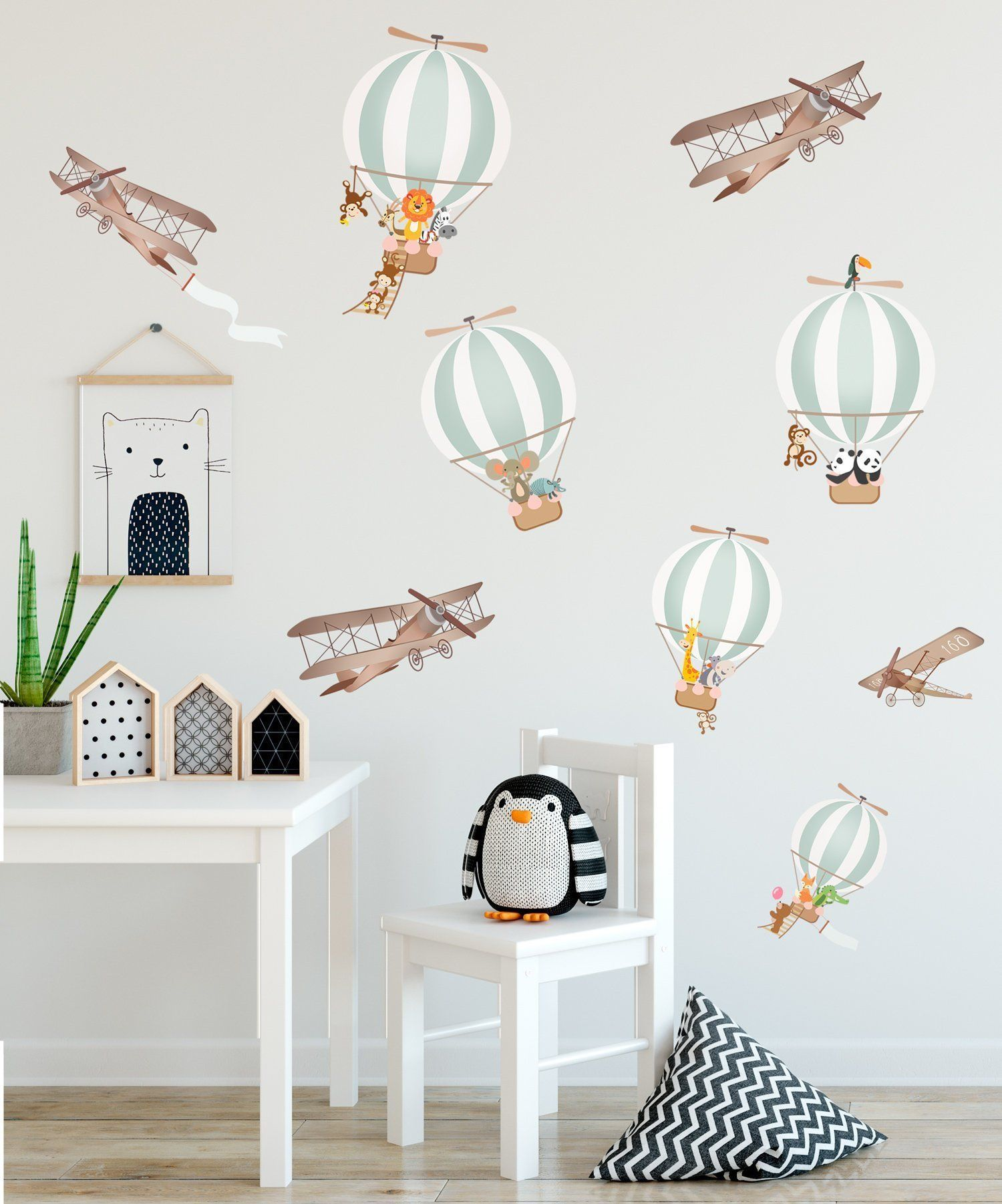 Kids Wall Decal Hot Air Balloon Wall Sticker Peel and