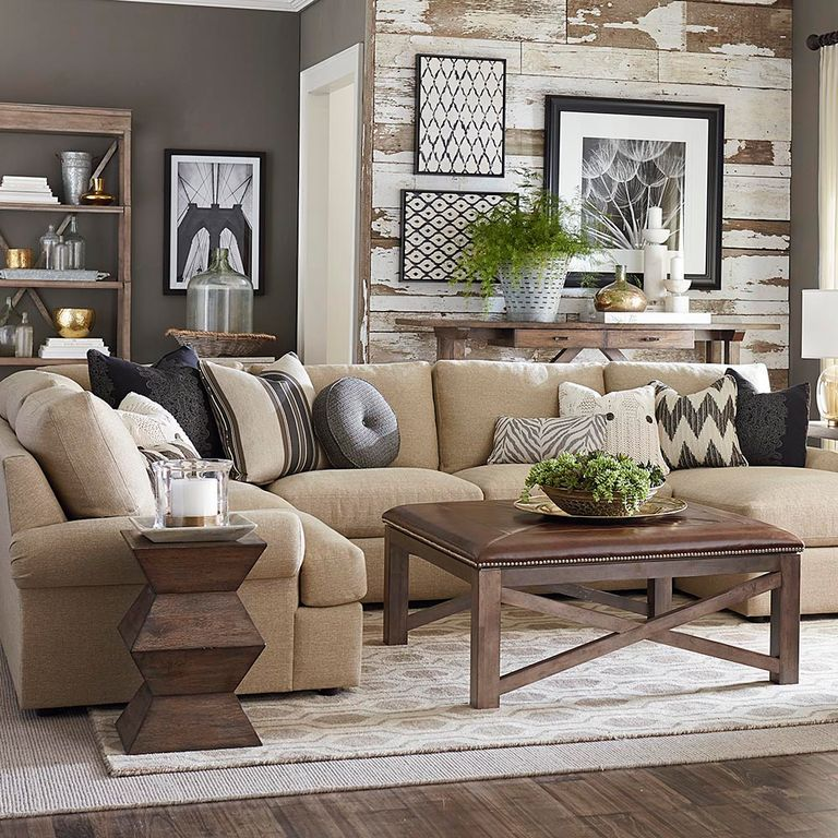 Charming Contemporary Living Room With Bassett Maddo Rug, Crown Molding, Hardwood  Floors, Built  · Wall Color CombinationNeutral SofaAccent ...
