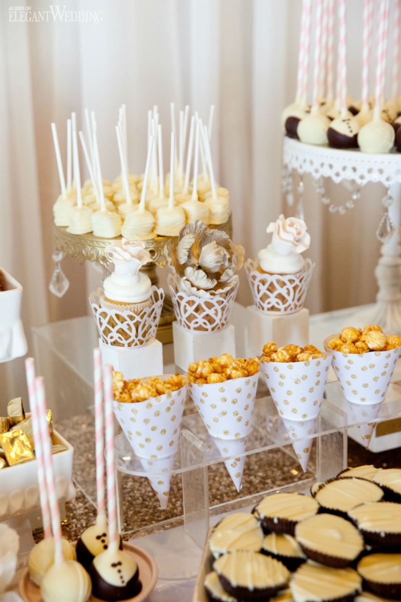 Soft blush pink and gold wedding sweet table, candies, sweets ...