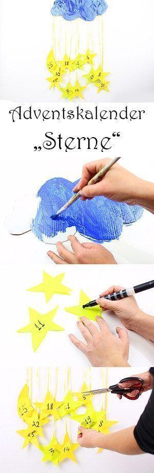 DIY Adventskalender für Kinder basteln – aus Pappe und Papier – mit Wolken und …,  #Advents…
