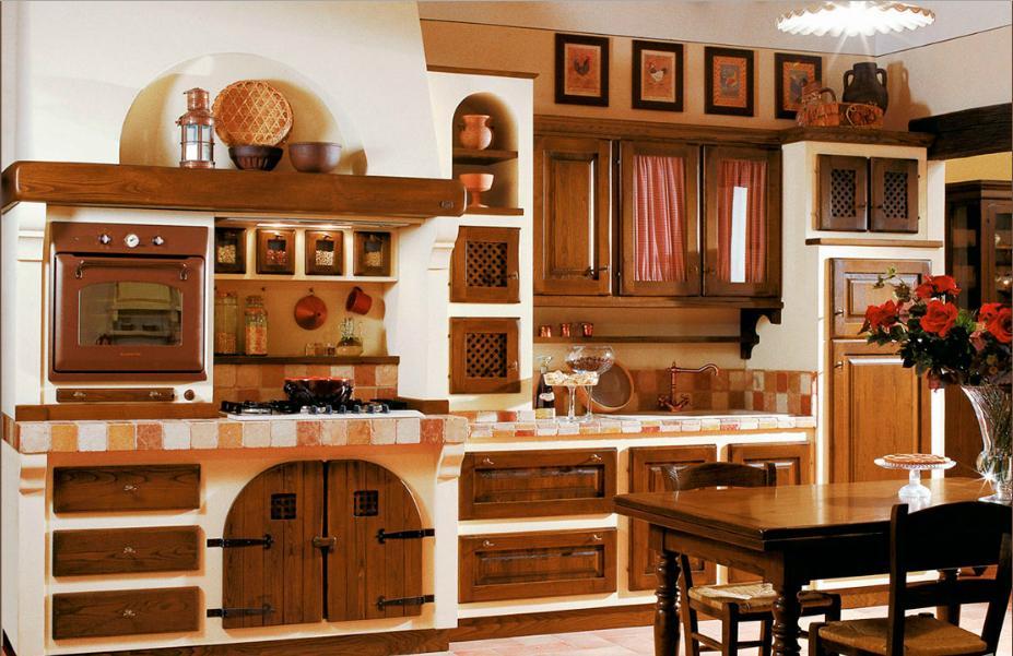 CUCINA RUSTICA CON ANTE IN LEGNO - Arredamento Shabby | Kitchen ...