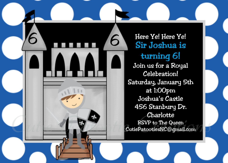 Knight Birthday Invitation Knight Birthday Party Invitation ...