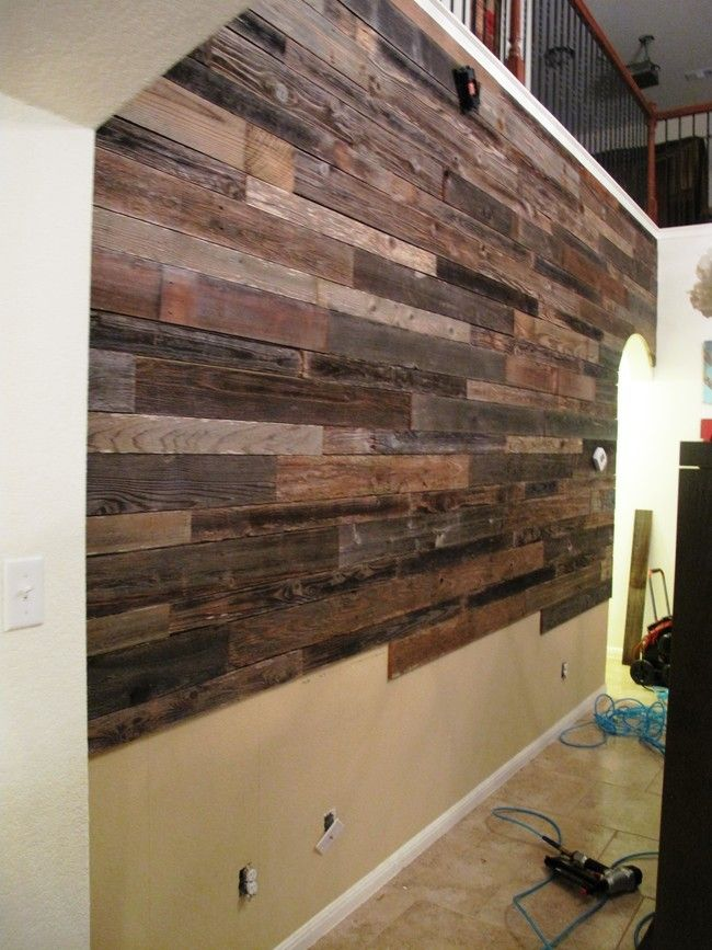 These Guys Built An Awesome Diy Wooden Feature Wall Using Old Fence Panels Reclaimed Wood Accent Wall Wood Accent Wall Plank Walls