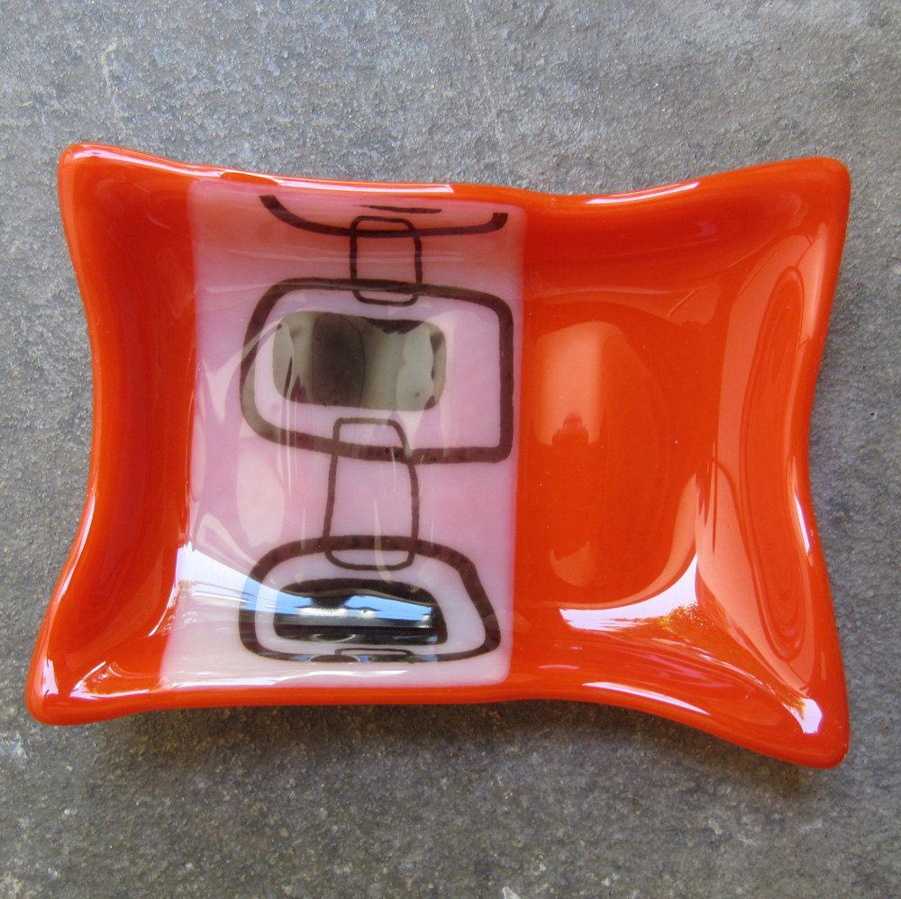 Cyber Monday Sale Orange Glass Soap Dish By Mediumstomasses Orange Bathroom Decororange