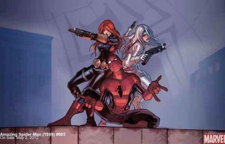 Black Widow, Silver Sable, Spiderman