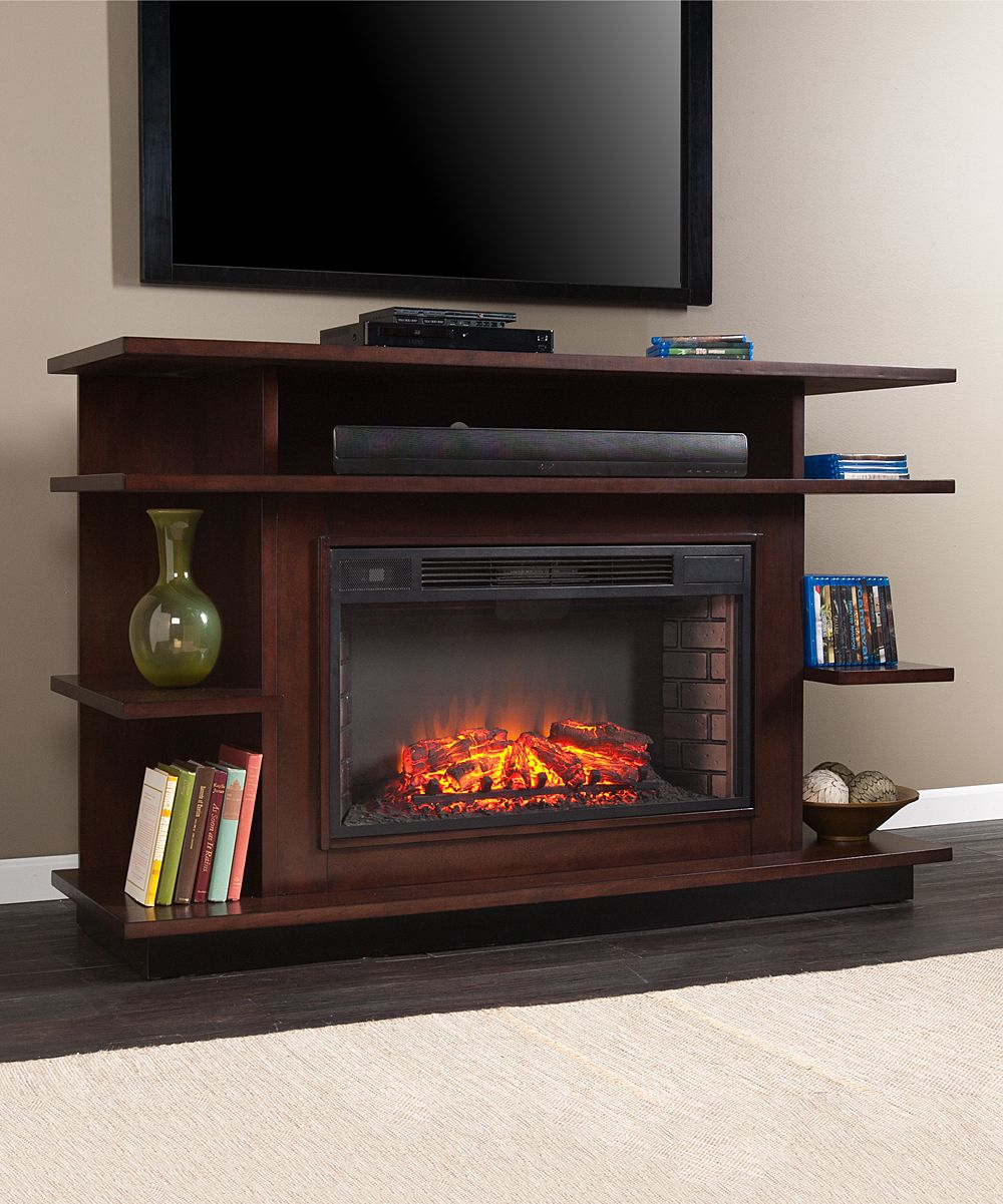 Espresso u ebony stain granville media electric fireplace electric