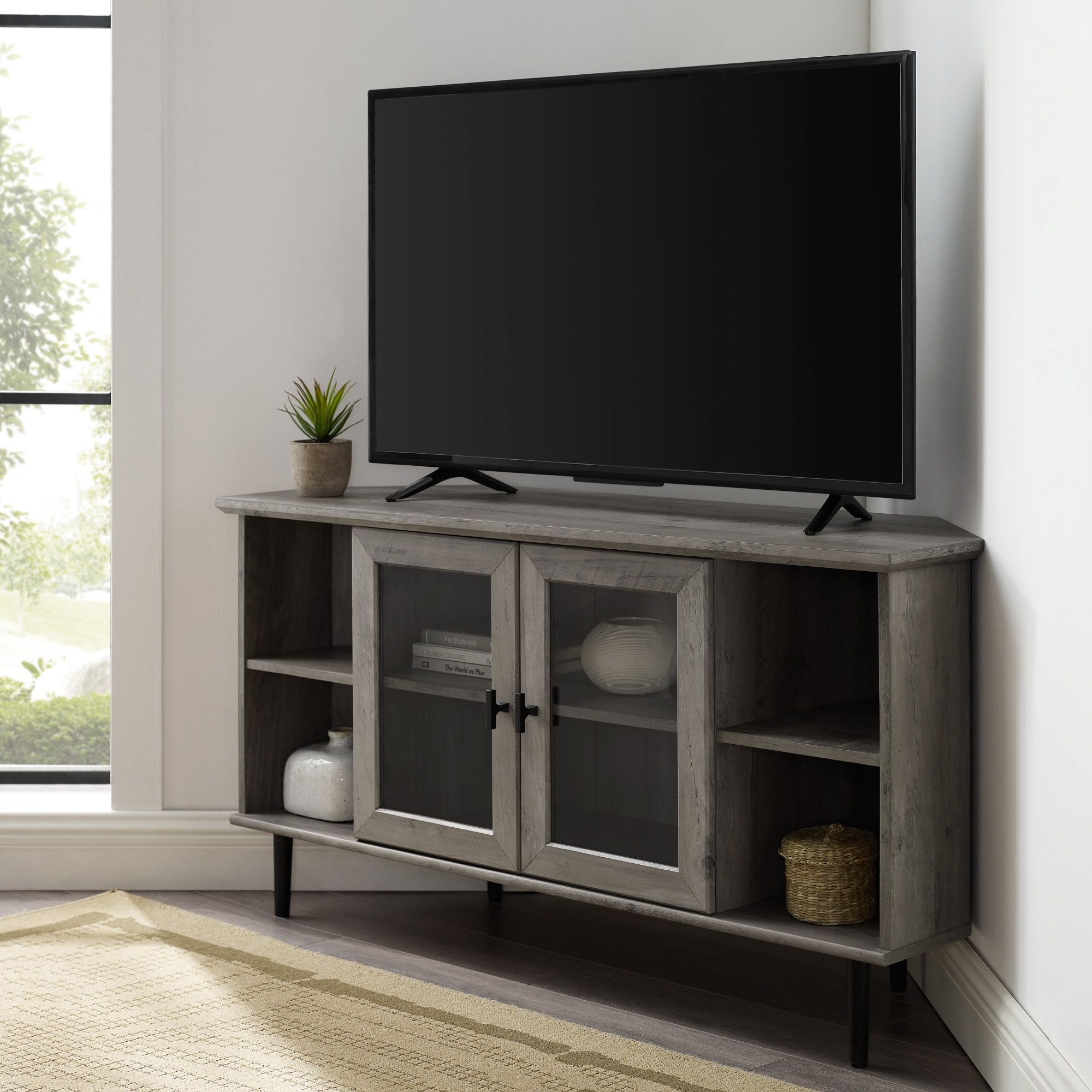 White 48 Inch 2 Drawer Tv Stand Tv Stand With Drawers Tv Stand White Tv Stands